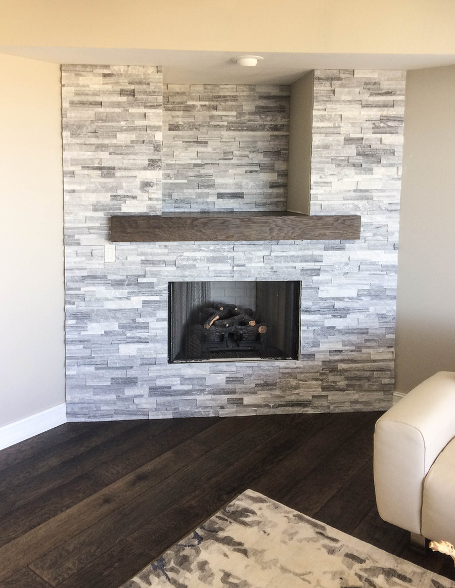 Split Face Stone Fireplace